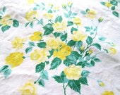 Vintage Tablecloth Wilendur Yellow Roses 1950s Cottage Kitchen Decor