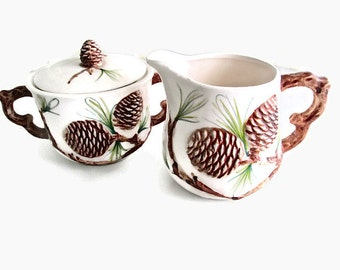 Vintage Parksmith Corp Raised Pinecone Sugar and Creamer 1930s - 1940s
