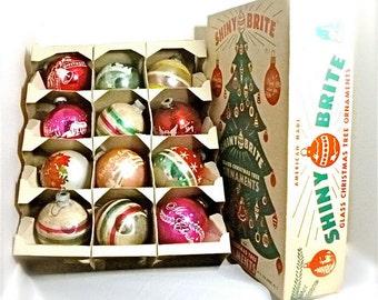 "Shiny Brite Ornaments Large 4"" Stenciled Mica Original Box and Hooks 1940s - 1950s 12 in Original Box"