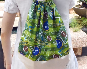 Drawstring backpack/ Cotton backpack/ Drawstring bag/ handmade backpack/ Gym bag/ Swim bag ~ Football (B67)