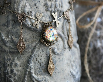 GILDED WINGS Victorian Art Nouveau Dragonfly Bridal Choker, Heirloom Renaissance Bridal Necklace, Custom Options Available
