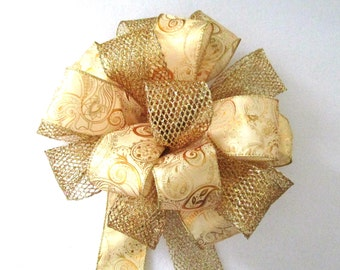 Gold Bow / Christmas Bow / Tree Topper Bow / Wreath Bow /  Yellow Bow