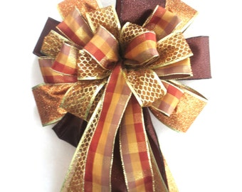 Christmas Bow, Tree Topper Bow, Christmas Tree Bow, Brown Bow