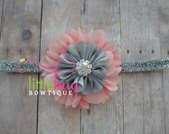 Vintage Christmas Holiday Silver Gray & Pink Salmon Chiffon Flowers on Glitter Headband Photography Prop for Newborns, Babies, Girls, Teens