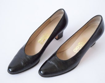 Salvatore Ferragamo Shoes |  Black Alligator  Leather Heels  | Size 7 AAAA