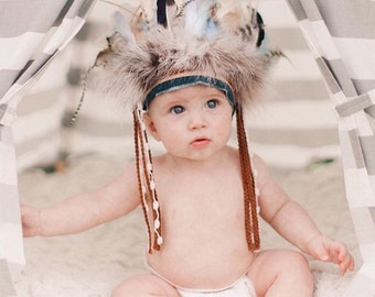 Infant/toddler boys Headdress - Indian Headdress - Indian Party - Wild One - Indian Costume - Feather Headdress.
