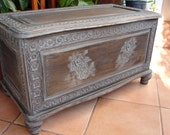 antique,wooden,French marriage chest/box/trunk/table-old,carved storage,blanket,dowry box
