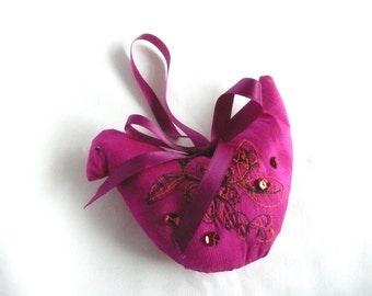 Pink silk bird - hand made bird decoration - embroidered silk Christmas decoration - fabric bird Xmas decoration - embroidered silk bird