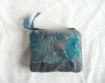 Embroidered velvet purse - grey velvet mini purse - hand dyed velvet purse -  free embroidered coin purse - hand dyed velvet pouch