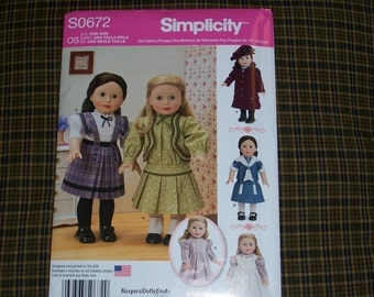 Simplicity 1179/672..American Girl Doll Pattern..18 Inch Doll Pattern....Cute New 2015 Patterns
