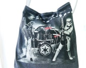 Star Wars Tote from Upcycled Tee Shirt, Tote, Medium Tote, Star Wars Bag, Darth Vader Tote, Star Wars Rock Band Tee Shirt Tote, UPcycled Tee