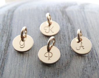 Gold Initial Charm Initial Pendant Personalized Jewelry 14k Initial Jewelry Hand Stamped Gold Disc Charm