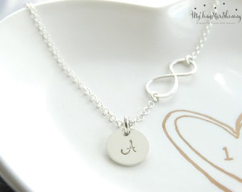 Personalized Infinity necklace Initial Infinity Necklace Silver Infinity necklace with initial disc Mothers Necklace Grandma Family necklace