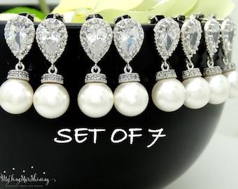 Set of 7 Pearl Earrings Bridesmaid Gift Wedding Jewelry Pearl Bridal Earrings Swarovski Crystal Pearl Earrings Silver 15% discount