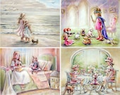 Girl childhood art, Sets 2- 4 Prints - Princess, teatime, Beach, Kitty, Dolls, pretend play, signed, fine art paper,  Laurie Shanholtzer