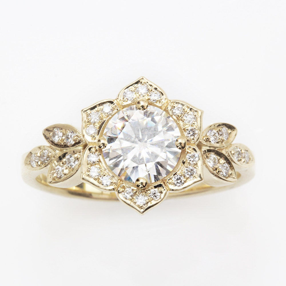 unique engagement ring vintage lily ring 14k by. Black Bedroom Furniture Sets. Home Design Ideas