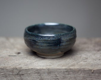 Wood fired stoneware dark glazed ceramic  pottery tea bowl