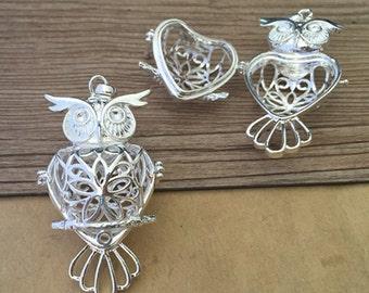2pcs  silver color owl hollow out  (copper) box charm pendant  29mmx51mm