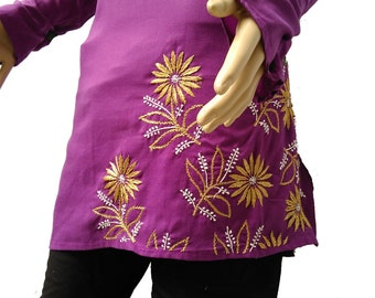 embroidery caftan handmade tunic sale beach wedding silk flower purple dress in plus size oversize tunic indian salwar kameez saree top