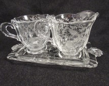 Fostoria Chintz Etched Creamer & Sugar Set w/ HTF Tray Elegant Glass Mint!
