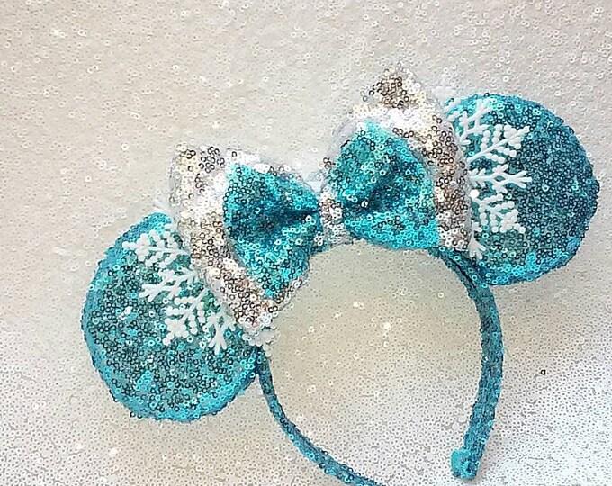 Frozen Queen Elsa Sequin Minnie ears
