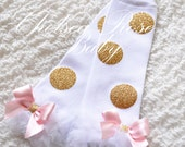Pink and gold polka dot leg warmers, baby leg warmers, girls leg warmers, pink and gold birthday outfit, pink and gold leg warmers, leggings