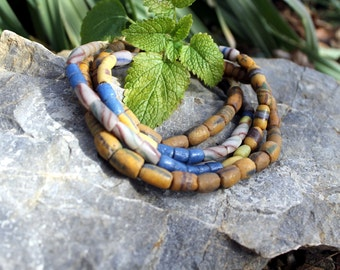2 Strands Vintage African Trade Beads, Pressed Glass, Sand Cast, Beads Traveling the Globe, T.11.