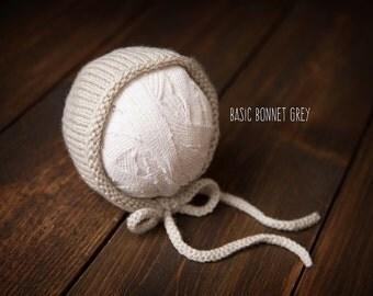 Newborn bonnet light grey ready to ship Photography Prop RTS