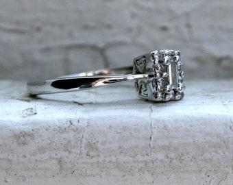 Sweet Vintage Baguette Diamond Halo Ring Engagement Ring.