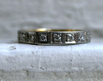 Stunning Vintage Etched Platinum/ 18K Yellow Gold Pave Diamond Wedding Band.