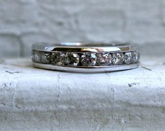 Vintage Channel 14K White Gold Diamond Wedding Band - 1.10ct