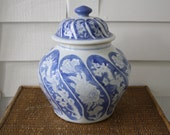 blue and white ginger jar, Asian vase, blue and white, Chinoiserie, Chinoiserie vase