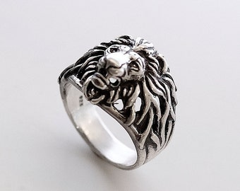 Lion head ring, Lion ring for man,Ring forman, Animals ring, Bikers ring, Silver ring for man, Lion ring, Jangle ring.