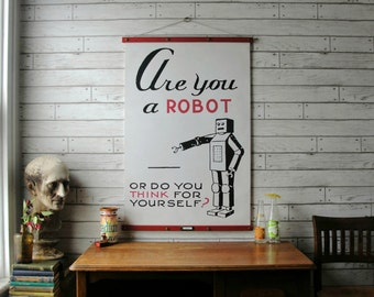 Robot Chart / Vintage Pull Down Reproduction / Canvas Fabric or Paper Print / Oak Wood Hanger with Antiqued Brass Hardware / Orgainc Finish