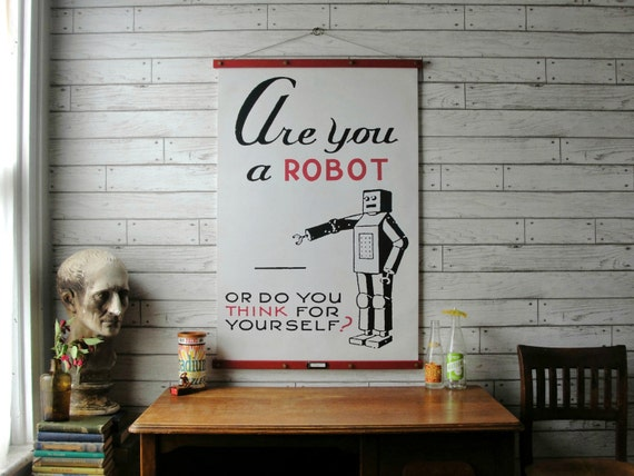 Robot Chart / Vintage Reproduction / Canvas Print /Oak Wood Hanger with Antiqued Brass Hardware / Orgainc Milk Paint and Wax Finish