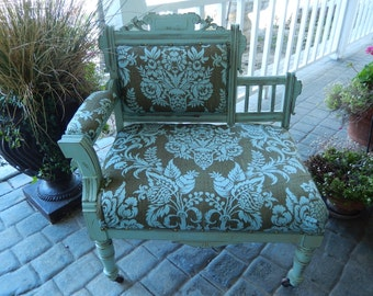 Eastlake Settee - Shabby Blue Chair - Antique Chair - Victorian Settee - Upholstered Shabby Chair - PICK UP  or DELIVERY only