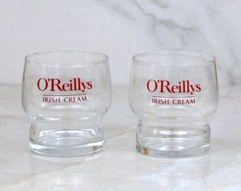 Vintage O'Reillys Irish Cream Glass, 6 oz, Set Of 2, O'Reilly's Original, Irish Cream, Barware, Lowball Glass,Whiskey Glass, Stackable Glass