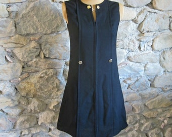 1960s little black dress French sleeveless shift dress with square buttons and gold links