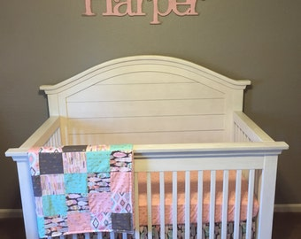 Crib Bedding Arrow Flight Feathers Tribal Aztec Mint Aqua Pink Coral by Michael Miller Baby Girl Bedding Set