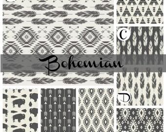 Organic Crib Bedding Bohemian Baby Bedding Arrows Feathers Aztec Buffalo Teepee Baby Boy or Girl Nursery Black Gray Ivory White