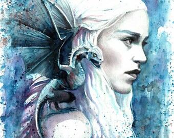 Game of Thrones art, Daenerys portrait, Art Print, Khaleesi, Daenerys Targaryen, Watercolor Painting, Fantasy art prints, Mother of Dragons