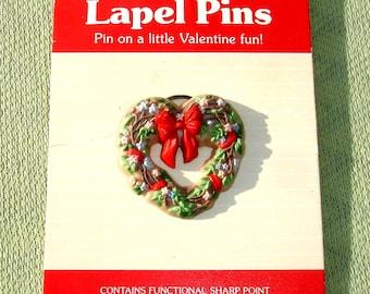 Heart Wreath Valentine Pin - Vintage Hallmark
