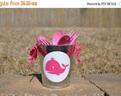 SALE Preppy whale party tin to hold party forks or spoons
