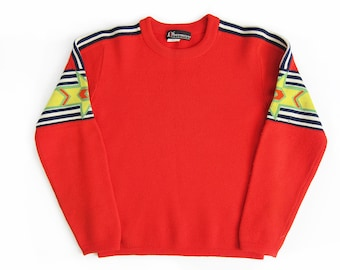vintage sweater / pull over / striped / 1960s red starburst knit pull over sweater Small
