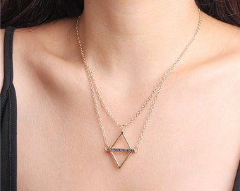 ON SALE Gold open diamond necklace - open triangle necklace - CZ bar necklace