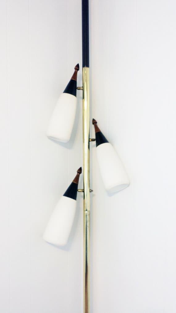 Vintage Pole Lamp Mid Century Tension Pole Lamp Teak Danish
