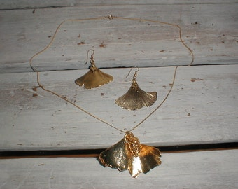 Hand Dipped 24K Leaf Necklace & Earrings *Bright Gold* Unique Set