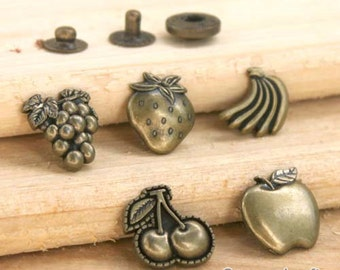 4Pcs Snap Button Antique bronze Plated Brass Bottons Set, 15mm 18mm Cute Pattern for Fruit -(5 in a set)(FN123)