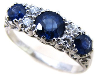 Platinum Sapphire Ring, PT900, Vintage Diamond Engagement Ring, Victorian Women's Diamond Ring, White Ring, Anniversary, Custom R75