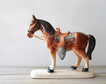 Hand painted ceramic vintage horse / horse collectible / equestrian gift / horse desk statue / rustic country cottage decor / manor style